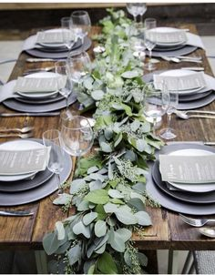 20 Greenery Filled Winter Wedding Ideas to Inspire green garland wedding centerpieces for winter theme Eucalyptus Garland, Eucalyptus Wedding, Eucalyptus Centerpiece, Eucalyptus Shower, Seeded Eucalyptus, Wedding Table Decorations, Garland Wedding, Table Wedding, Green Wedding Centerpieces