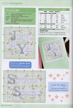 Cross-stitch Thinking of You, part 3..  color charts on part 3 & 5...