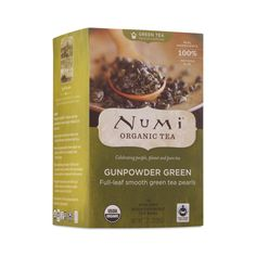 Organic Gunpowder Green Tea by Numi www.theteelieblog.com Within hours of being plucked, this whole leaf organic green tea is gently steamed and then rolled into small tight pearls. When steeped, the leaves unfurl, releasing a well-rounded, full-bodied flavor. #thrivemarket