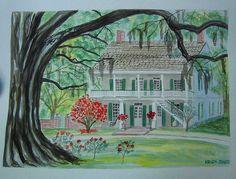 Louisiana Plantations, Creole Cottage, Art Grants, Plantation Homes, Watercolor Artwork, Old Art, Art Studies, Art Club, Fine Art
