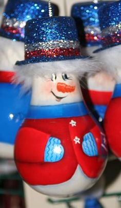 hazafias hóember villanykörte ornie light bulb ornie - snowman (red/white/blue)