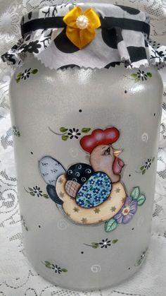 Pote de vidro com decoupage e pintura