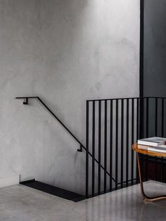 Cereal abode INSPIRATION: A textured grey wall and black linear railing provide the perfect pairing Staircase Handrail, Stair Railing, Staircase Design, Staircases, Black Staircase, Bannister, Industrial Stairs, Industrial Interior Design, Interior Stairs
