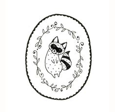 Raccoon Embroidery Pattern PDF Digital Downloadable 0001