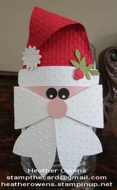 Santa Candy Jar using the Gift Bow Die from Stampin' Up!