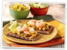 Ryvita with king prawns and mango salsa