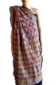 A beautiful #dupatta in Pink #Chanderi #Fabric with colourful #handembroidery. Could not be more apt for that different look. (Fabrics of #India - www.facebook.com/fabricsofindia2013) Price: USD 42