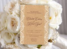 Printable Wedding invitation template Vintage rough paper by Oxee
