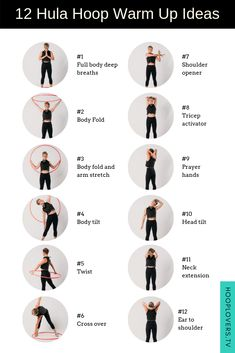 Try thse 12 hula hoop warm up ideas using hula hoops. Warming up before you start hooping is essential to get your body and mind ready. Warm Up Stretches, Dance Stretches, Flexibility Stretches, Stretching, 5 Minute Abs Workout, Workout Warm Up, Workout Fitness, Basic Workout, Hula Hoop Workout