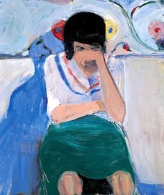Richard Diebenkorn - Girl with Flowered Background
