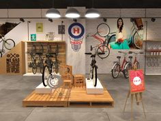 Hero Cycles - Store Identity on Behance Bicycle Cafe, Bicycle Store, Shop Interior Design, Store Design, Triathlon Shop, Velo Shop, Boutique Velo, Fashion Retail Interior, Bike Room