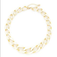 "HPWhite & Gold Chain Necklace NWOT 14k yellow gold plated base metal chain with white enamel details. Lobster clasp closure. 16"" long with 2"" extension. New, never worn. Sparkling Sage Jewelry Necklaces"