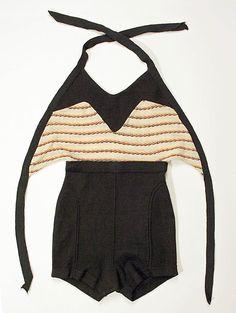 Bathing suit  Date: 1930s Culture: American Medium: wool    Love these halter tie-backs
