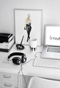 Simple black and white office. Obsessing over clean spaces. #rassphome #contemporary #minimal #simple