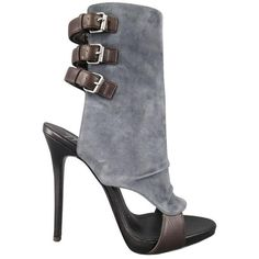 Preowned Giuseppe Zanotti Size 8.5 Gray Suede Brown Leather Buckle... ($756) ❤ liked on Polyvore featuring shoes, boots, grey, high heel platform boots, gray suede boots, high heel shoes, grey boots and zipper boots