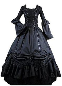 Amazon.com: Fantasy_Outlet Black Square Collar Gothic Victorian Prom Dress: Clothing