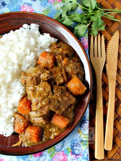 A hearty slow cooker stew with melt-in-your-mouth tender beef chunks in creamy coconut sauce flavored with curry powder and other spices.  SLOW COOKER COCONUT CURRY BEEF STEW -  deliciousness in every mouthful!
