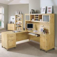 Desk- Bush Somerset L-Shaped Desk with Hutch - Maple