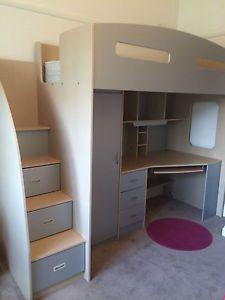 space savers storage | ... -Space-Saver-Loft-Bunk-Bed-with-Mattress-Desk-Drawer-Wardrobe-Storage