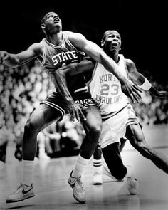 The GOAT battles for rebounding position with a NC State player at the University of North Carolina in Chapel Hill. Michael Jordan Unc, Michael Jordan Photos, Michael Jordan Basketball, Jordan 23, I Love Basketball, Basketball Skills, College Basketball, Basketball Players, Soccer