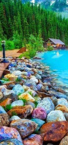 Rocky Shore ~ Lakv Louise, Canada .**