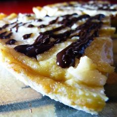 Rum Chocolate Drizzled Pear Flan Recipe