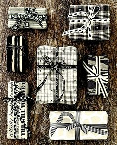 #Christmas gift #wrapping ideas ToniK ⓦⓡⓐⓟ ⓘⓣ ⓤⓟ #DIY #crafts black & white stoffogstil.no
