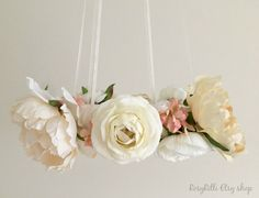 Vintage inspired white, cream, pink and gold flower mobile perfect for your wedding, baby photo shoot, shower or nursery!