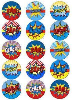 SUPERHERO-BUBBLE-COMIC-TALK-V2-EDIBLE-WAFER-PAPER-TOPPERS-CUPCAKE-CAKE-MUFFIN