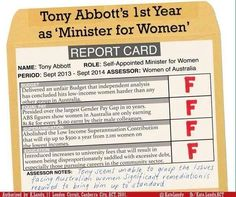 Flyer criticising Australia's Prime Minister Tony Abbott, who appointed himself Minister for Women. Authorised by Kate Lundy, Labor. 2014