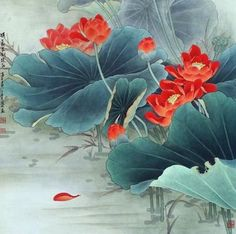 Gongbi Painting - Chinese Traditional Painting with Meticulous Detail - China culture Qiu Ying, Shen Quan Japanese Painting, Chinese Painting, Chinese Art, Japanese Art, Ink Painting, Watercolor Paintings, Art Asiatique, Art Japonais, Botanical Flowers