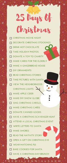 25 Days of Christmas - Holiday Traditions Your Family Will Love Since our son is old enough to partake in Christmas festivities, I created a 25 Days of Christmas bucket list full of fun traditions your family will love. Christmas Countdown, Christmas To Do List, Christmas Movie Night, 25 Days Of Christmas, Noel Christmas, A Christmas Story, Christmas Gifts, Christmas Kitchen, Christmas Bucket Lists