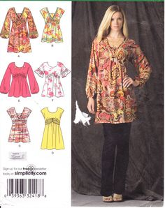 Womens Sewing Pattern Tunic Top or Mini Dress by Sutlerssundries, $6.99