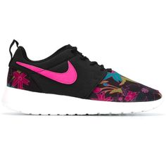 Nike Roshe Run Sneakers ($112) ❤ liked on Polyvore featuring shoes, sneakers, black, lace up sneakers, nike footwear, floral shoes, nike and nike trainers
