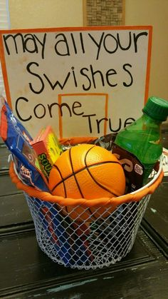 May all your swishes come true. Basketball gift basket. We found everything at the dollar store for a total of under $9. #girlfriendbirthdaygifts