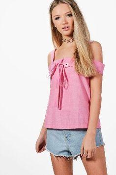 #boohoo Cold Shoulder Eyelet  Tie Top - pink DZZ61282 #Grace Cold Shoulder Eyelet and Tie Top - pink