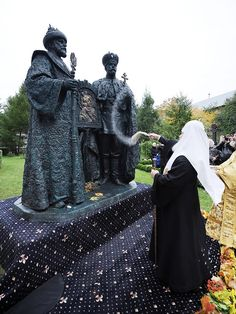 New Romanov Monument at Novospassky Monastery~ the new monument is a sculpture composition with the image of the first tsar of the Romanov Mikhail Feodorovich and the last - Tsar-Martyr Nicholas II. The Primate of the Russian Church led the service of the Divine Liturgy at the Holy Transfiguration Cathedral of the monastery. Read more~
