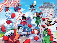 #Marvel #Fan #Art. (Giant Size Little Marvels VS X-Men Cover) By: Skottie Young. (THE * 5 * STÅR * ÅWARD * OF: * AW YEAH, IT'S MAJOR ÅWESOMENESS!!!™) ÅÅÅ+