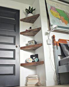 13 ideas for simple living room shelves DIY projects, ., 13 ideas for simple living room shelves DIY projects, Floating Corner Shelves, Corner Shelving, Glass Shelves, Floating Wall, Corner Storage, Hallway Shelving, Diy Corner Shelf, Corner Bookshelves, Floating Bookshelves
