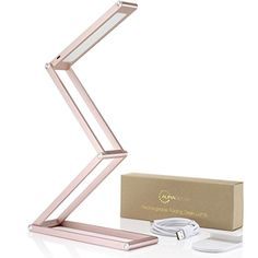 Auraglow Wireless Dimmable Desk Lamp USB Rechargeable Folding LED Reading Light - Rose Gold