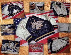 SUKAJAN Embroidered Souvenir tour Jacket ( japanese M ) HOUSTON KABUTO USIWAKA #HOUSTON #FlightBomber