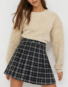 Stradivarius recycled polyester pleated mini tennis skirt in check | ASOS Cute Skirts, Plaid Skirts, Short Skirts, Mini Skirts, Pleated Tennis Skirt, Denim Mini Skirt, Asos, Blue Fashion, Skirt Fashion