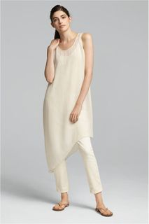EILEEN FISHER Spring Icons Collection: Asymmetrical Layering Dress + Fitted Ankle Jeans