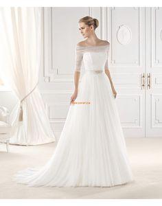 Halbe Sleeve Rüsche Reißverschluss Brautkleider 2015