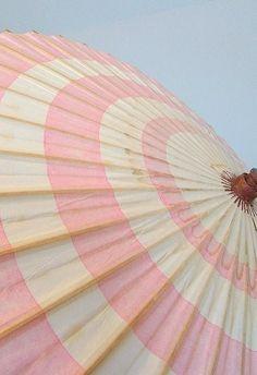 Pink and white stripe sun umbrella