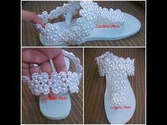 Percata de renda francesa parte 1 - YouTube Crochet Shoes Pattern, Shoe Pattern, Sock Shoes, Baby Shoes, Decorating Flip Flops, Crochet Sandals, Tassel Jewelry, Crochet Woman, How To Make Beads