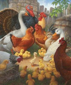 """""""The Barnyard Scene"""" from The Ugly Duckling. Oil on panel, approx. image size 20"""" x 24."""""""