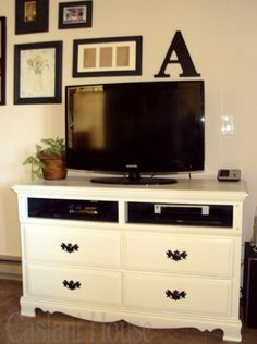 an outdated dresser easily becomes a valuable asset when made into a tv console this