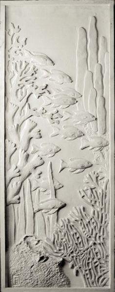 """Sculpture murale / panneau mural Bas-relief """"banc de poissons"""""""