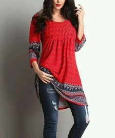 Reborn Collection Red Border Empire-Waist Tunic - Plus Designer Kurtis, Designer Dresses, Indian Fashion, Boho Fashion, Fashion Outfits, Kurta Designs, Blouse Designs, Mode Plus, Mode Hijab
